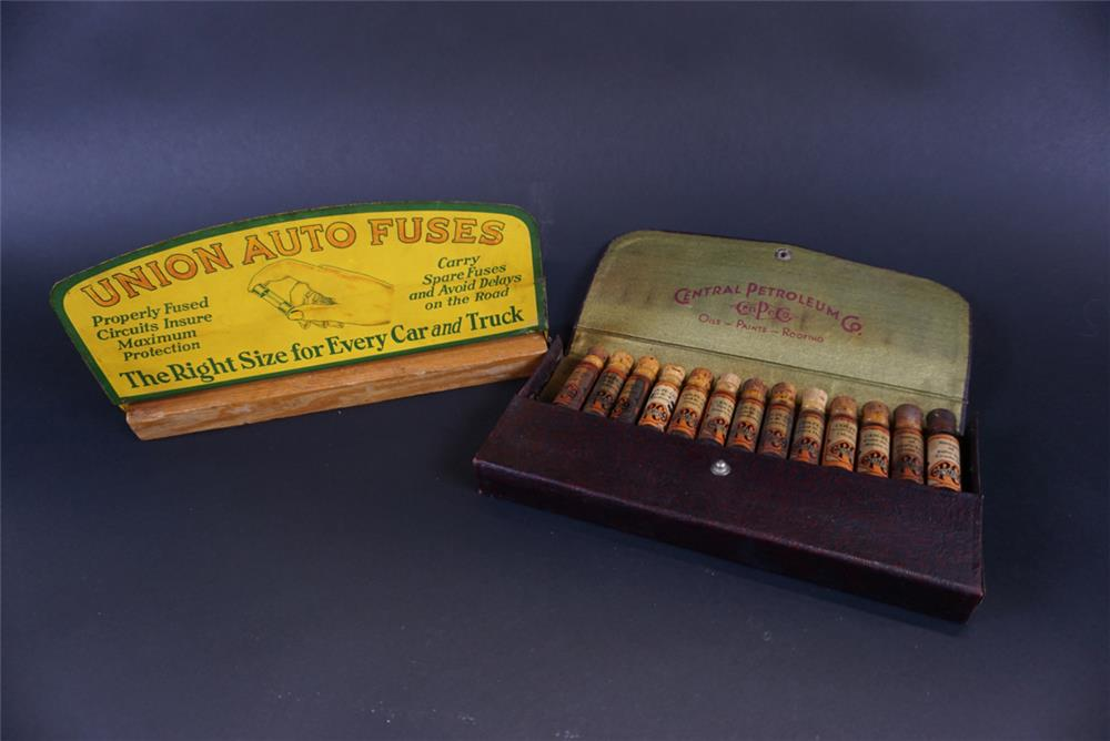 Lot consisting of a 1920s-30s Union Auto Fuses countertop display sign and a 1930s Cen-Pe-Co Oil salesman sample kit - Front 3/4 - 191808