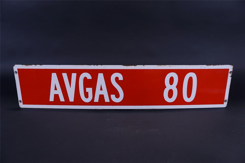 Uncommon 1950s Aviation Gas AV 80 single-sided porcelain airport flight service sign. - Front 3/4 - 191809