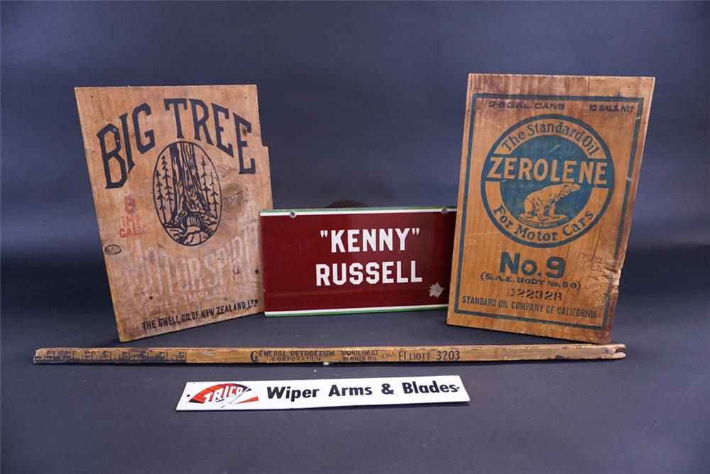 Lot of miscellaneous station items including porcelain and wood signs. - Front 3/4 - 191811
