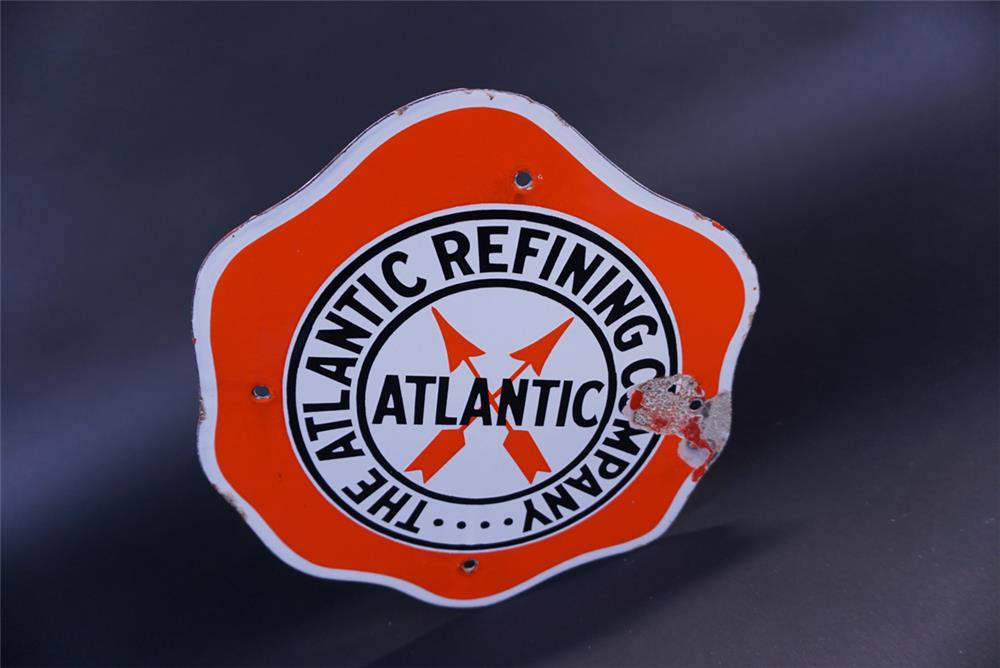 1930s The Atlantic Refining Company single-sided die-cut porcelain sign. - Front 3/4 - 191812