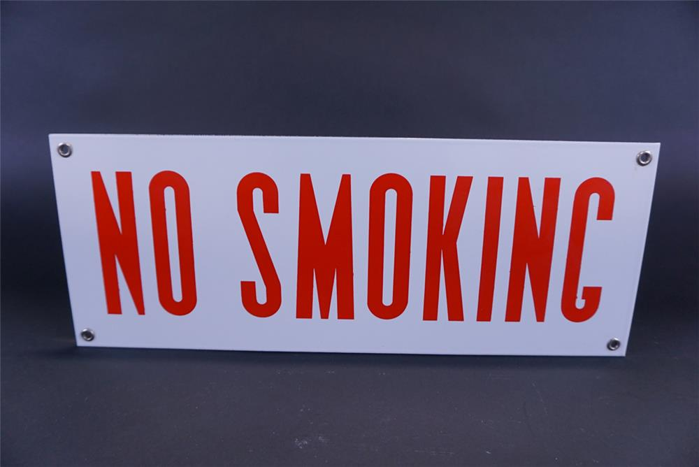NOS 1950s No Smoking service station fuel island single-sided porcelain sign. - Front 3/4 - 191816