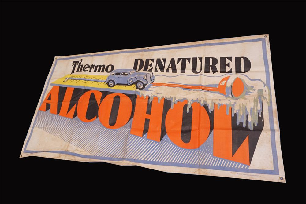 Very cool 1930s Thermo Alcohol Anti-Freeze service station banner - Front 3/4 - 191820