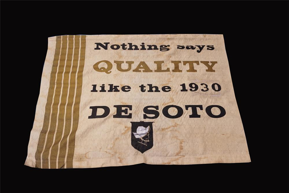 Scarce 1930 Desoto Automobiles dealership banner sign with DeSoto logo. - Front 3/4 - 191821