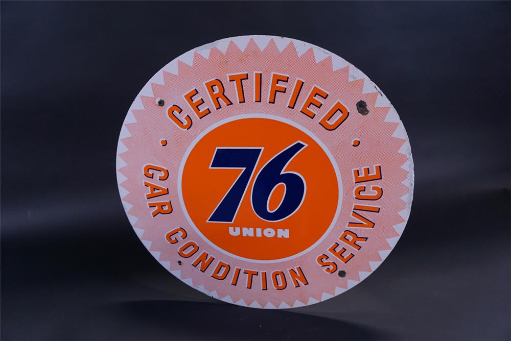 Phenomenal 1950s Union 76 Certified Car Condition Service single-sided porcelain sign. - Front 3/4 - 191824