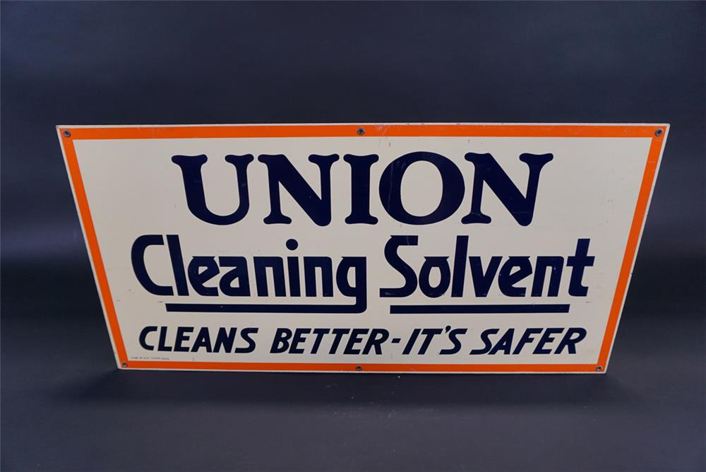 Unusual Union Oil Company Cleaning Solvent single-sided masonite service station sign. - Front 3/4 - 191826
