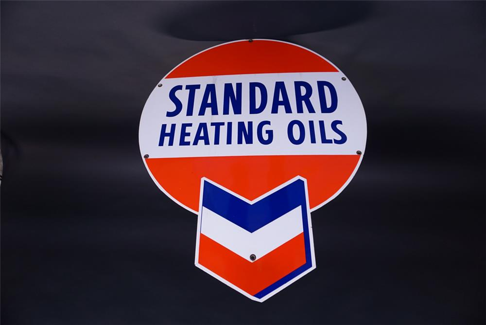 NOS circa 1950s Standard Heating Oils Single-sided die-cut porcelain service station sign. - Front 3/4 - 191828