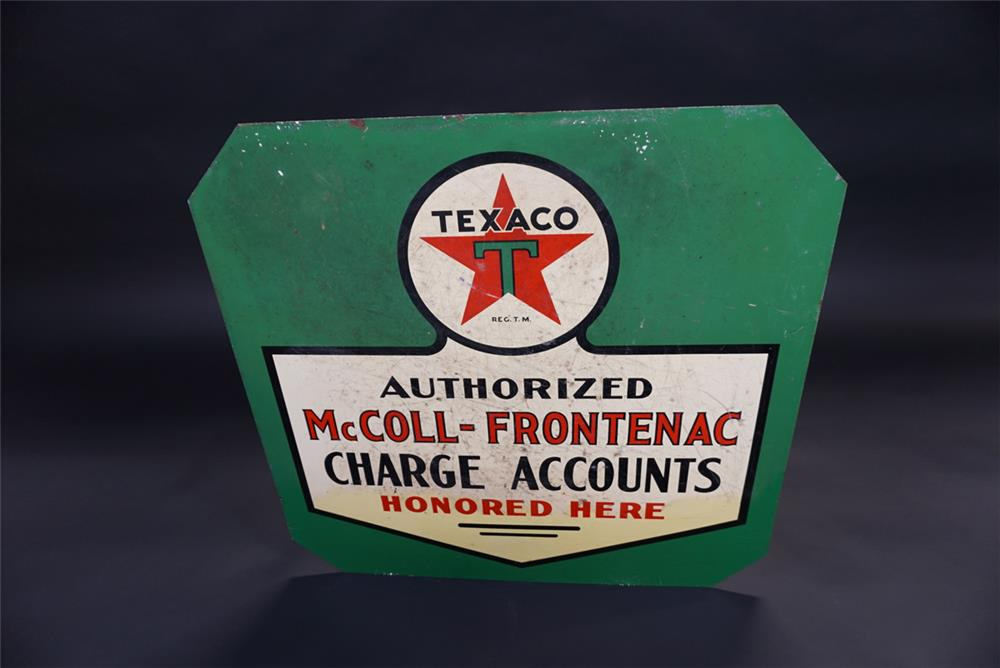 Unusual 1930s Texaco McColl-Frontenac Charge Accounts double-sided tin service station sign. - Front 3/4 - 191833