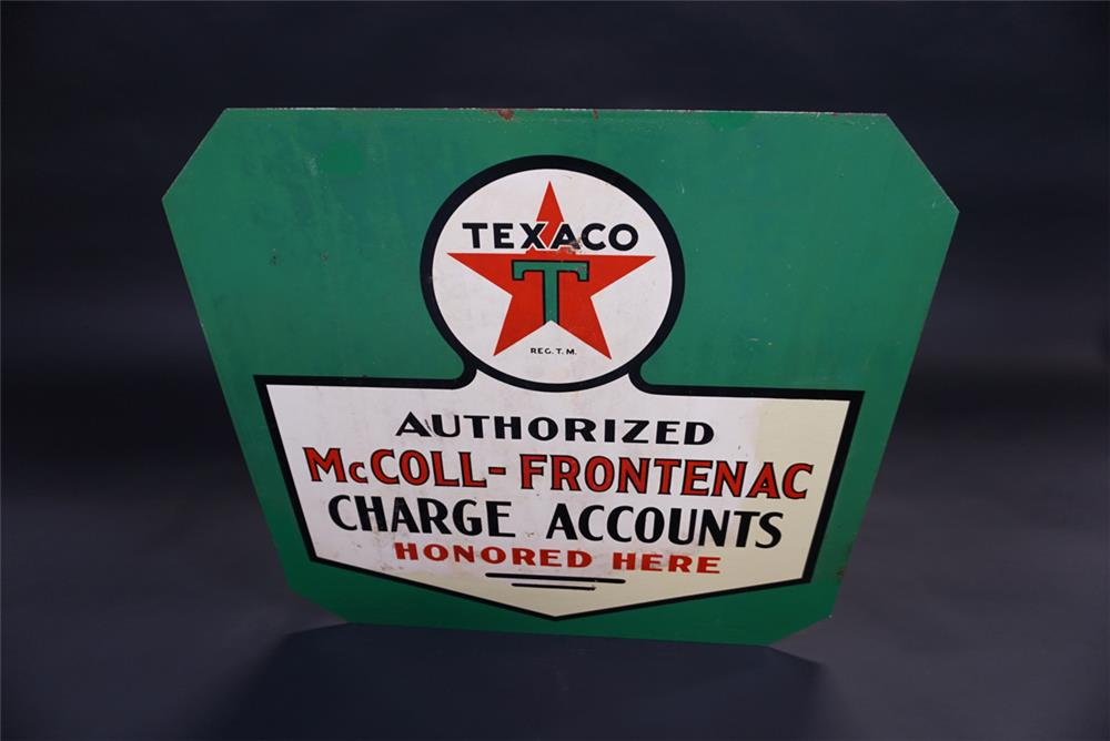 Unusual 1930s Texaco McColl-Frontenac Charge Accounts double-sided tin service station sign. - Rear 3/4 - 191833