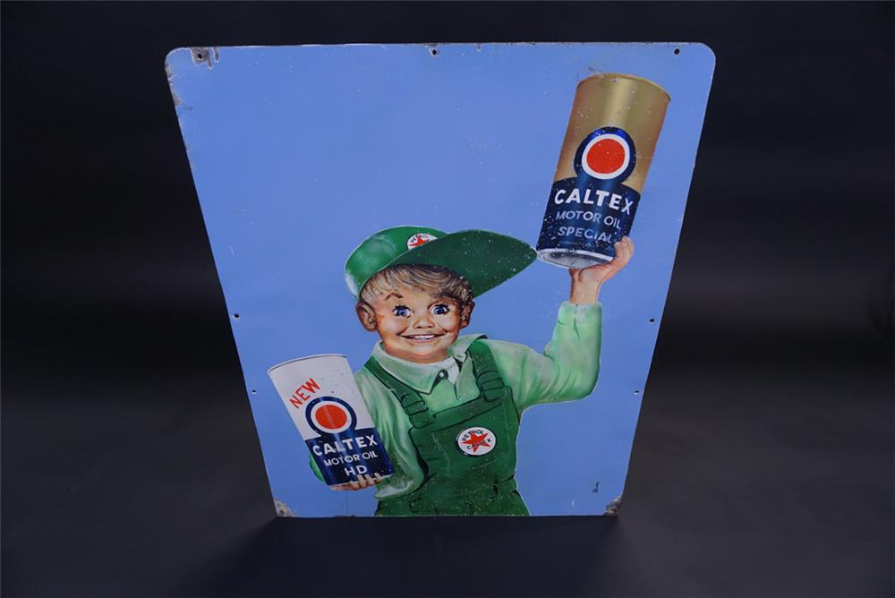 Neat 1950s Caltex Oil double-sided porcelain service station sign - Front 3/4 - 191836