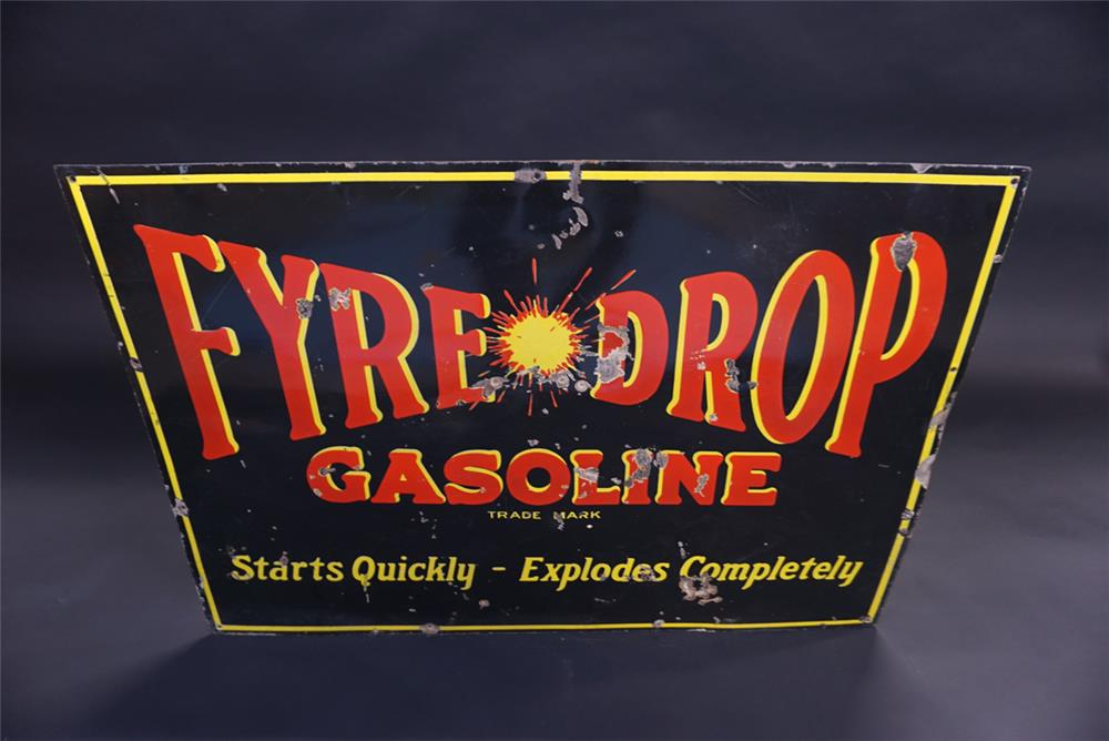 Desirable 1930s Fyre Drop Gasoline single-sided porcelain sign. - Front 3/4 - 191837