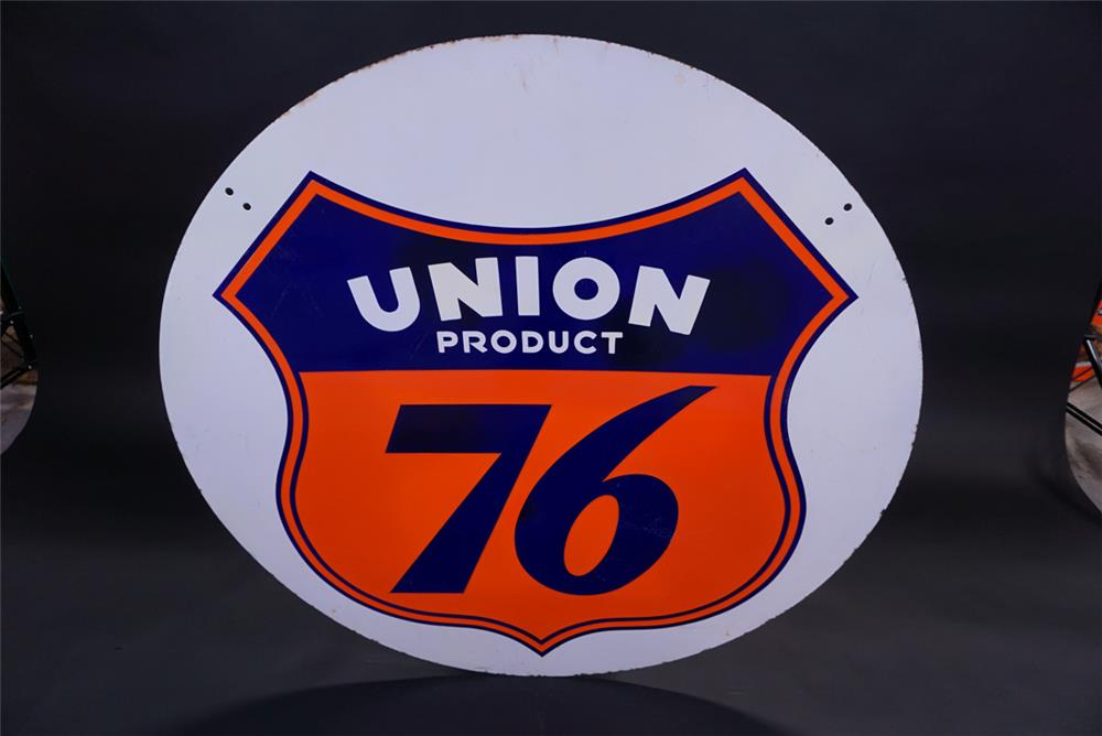 Very uncommon Union 76 double-sided porcelain service station sign. - Rear 3/4 - 191840
