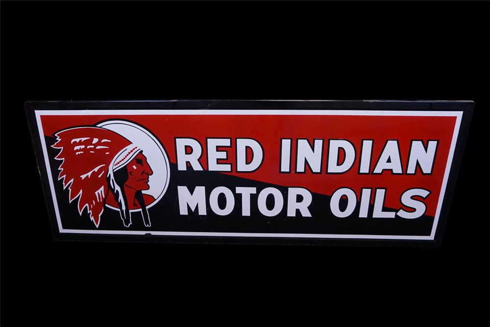 Superlative 1930s Red Indian Motor Oil single-sided porcelain filling station sign - Front 3/4 - 191842