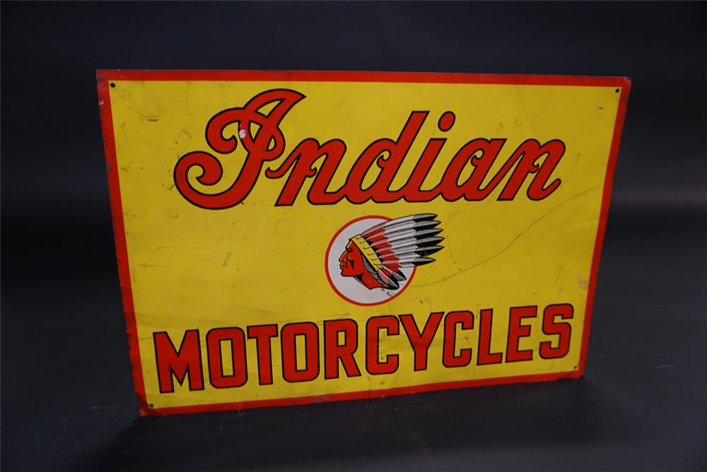 Hard to find vintage Indian Motorcycles single-sided tin dealership sign with Chieftain logo. - Front 3/4 - 191844