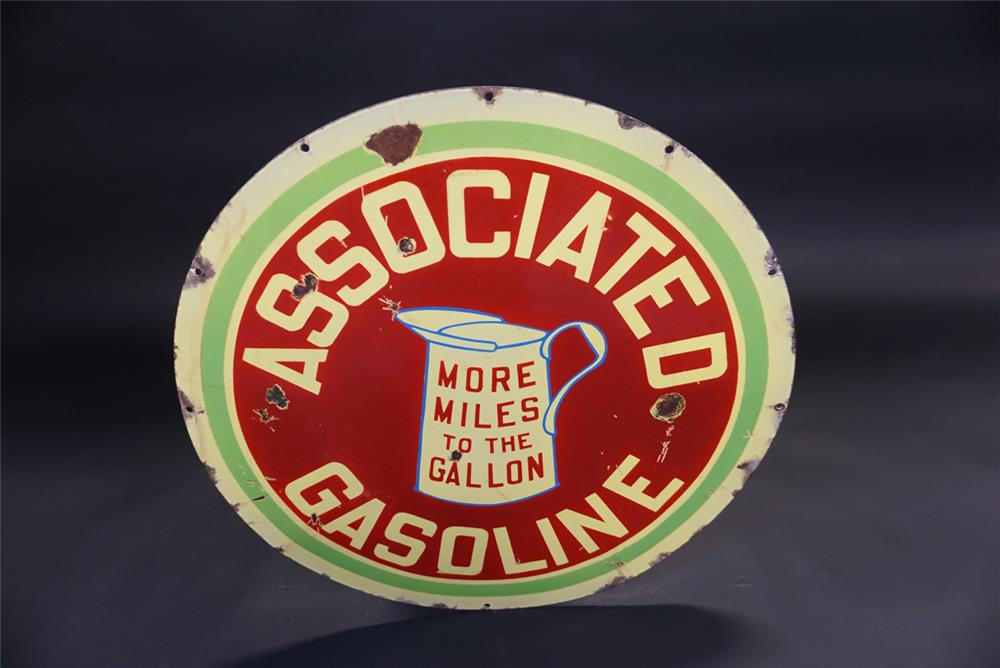 Early Associated Gasoline More Miles to the Gallon double-sided porcelain service station sign. - Front 3/4 - 191845