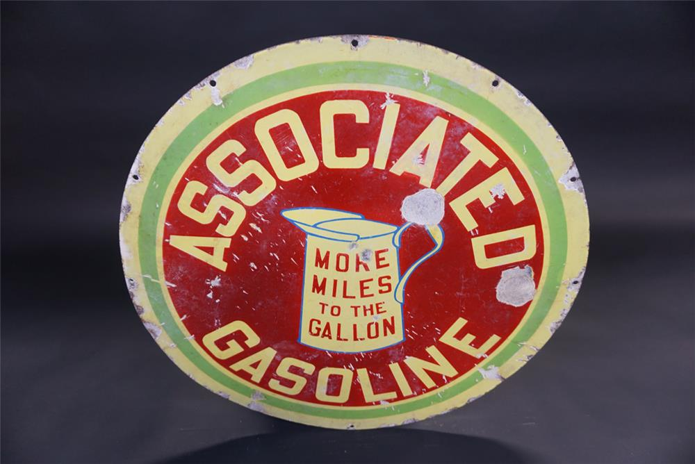 Early Associated Gasoline More Miles to the Gallon double-sided porcelain service station sign. - Rear 3/4 - 191845