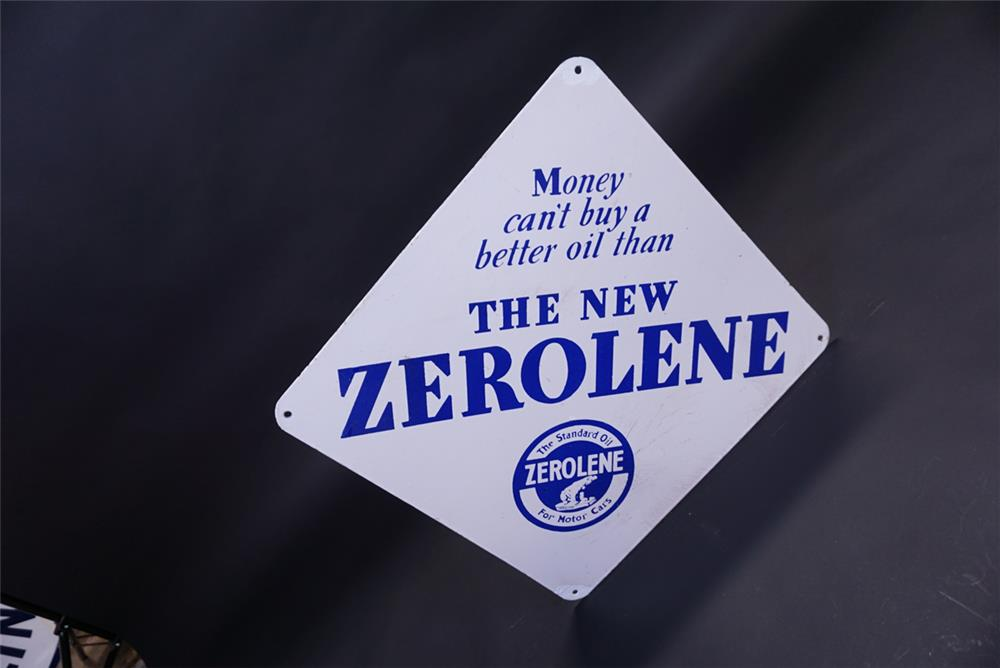 Very collectible 1930s Standard Zerolene Motor Oil double-sided porcelain service station sign. - Front 3/4 - 191846