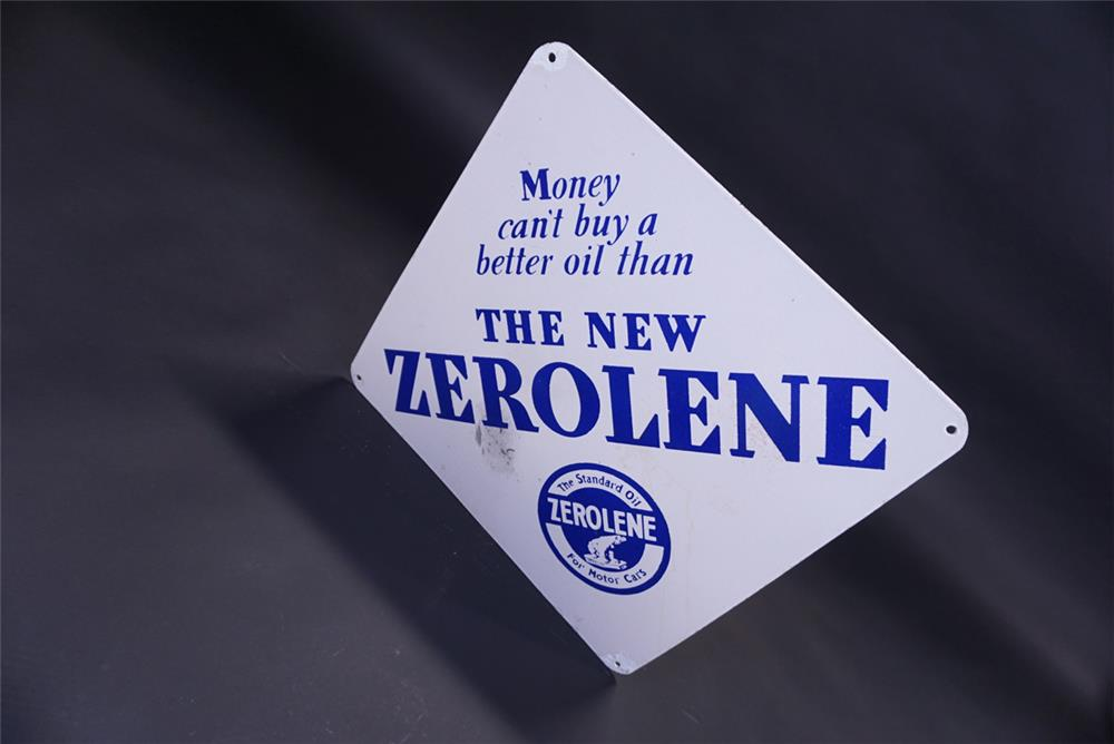 Very collectible 1930s Standard Zerolene Motor Oil double-sided porcelain service station sign. - Rear 3/4 - 191846
