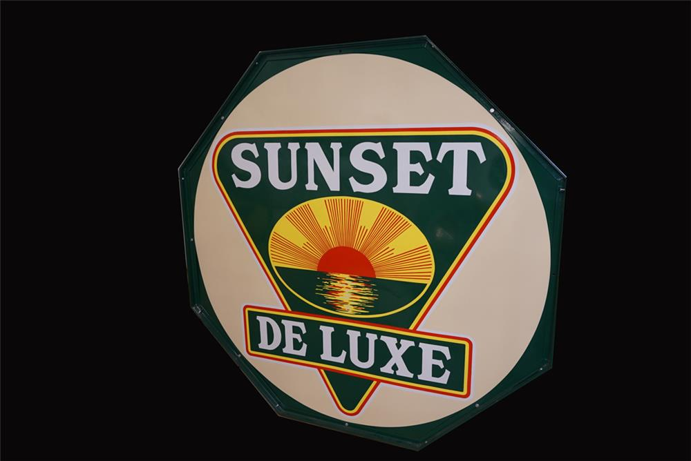 Rare large 1930s Sunset DeLuxe Gasoline double-sided porcelain sign in the original hanger. - Front 3/4 - 191850