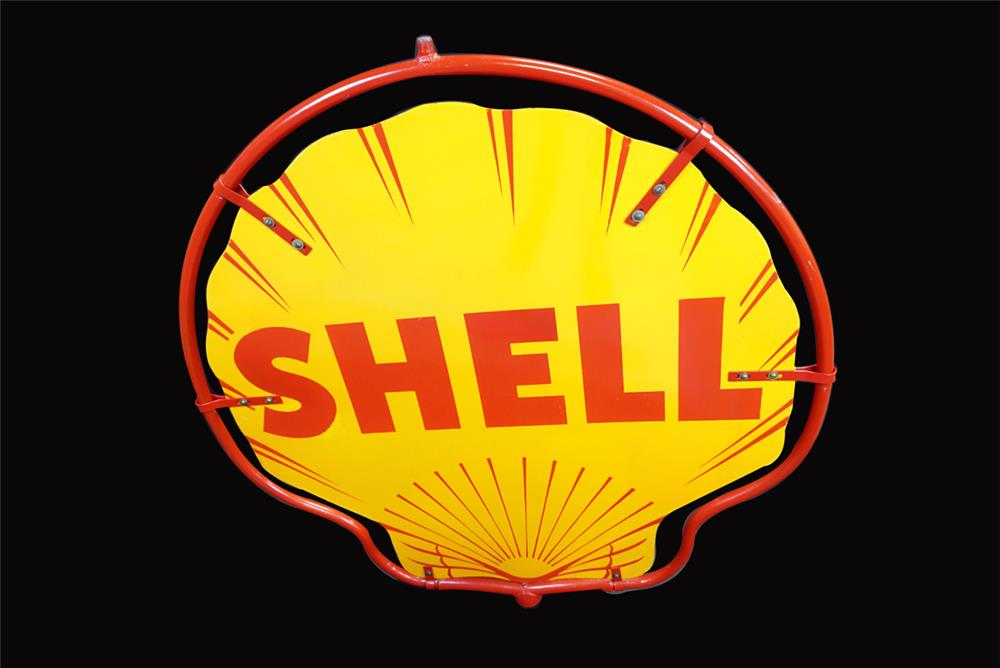 Very clean circa 1940s Shell Oil double-sided porcelain service station sign - Front 3/4 - 191921