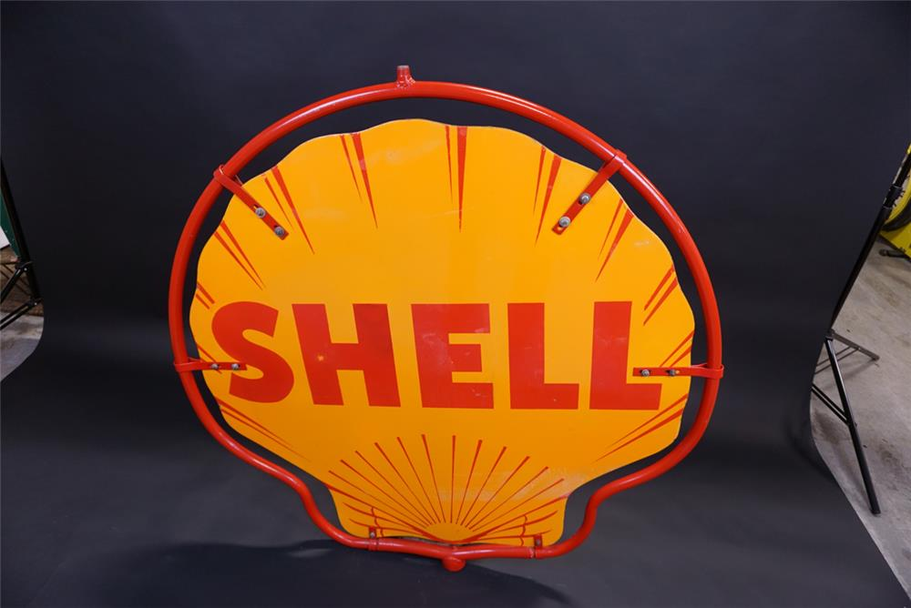 Very clean circa 1940s Shell Oil double-sided porcelain service station sign - Rear 3/4 - 191921