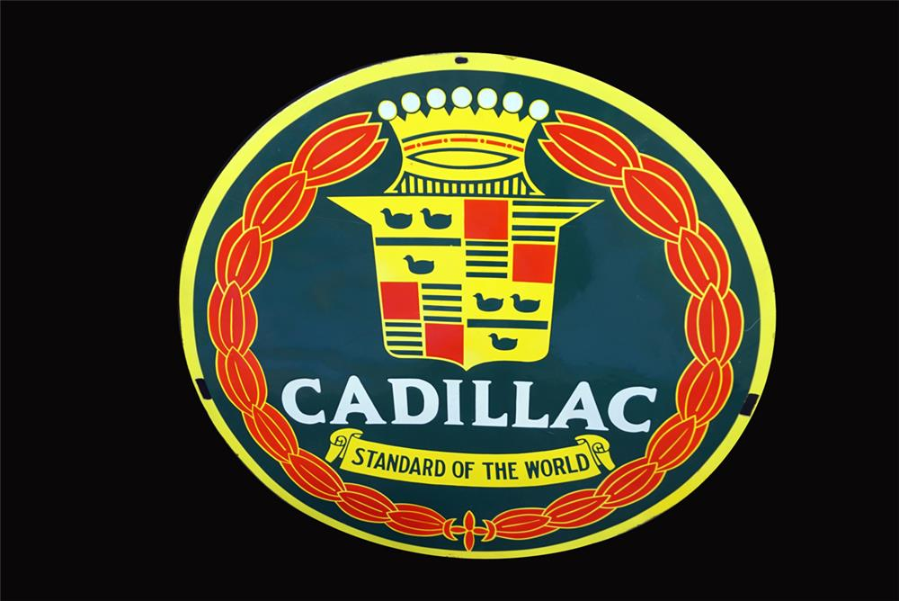"""Extremely rare circa 1930s-40s restored Cadillac """"Standard of the World"""" single-sided porcelain dealership sign. - Front 3/4 - 191922"""