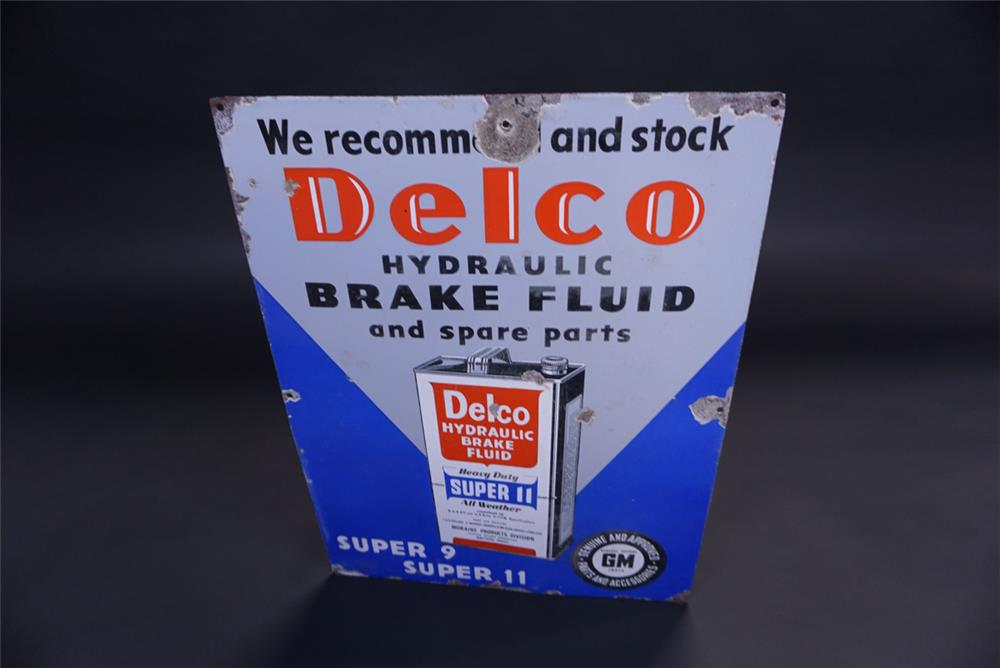 Unusual 1940s GM Delco Single-sided porcelain automotive garage sign - Front 3/4 - 191925