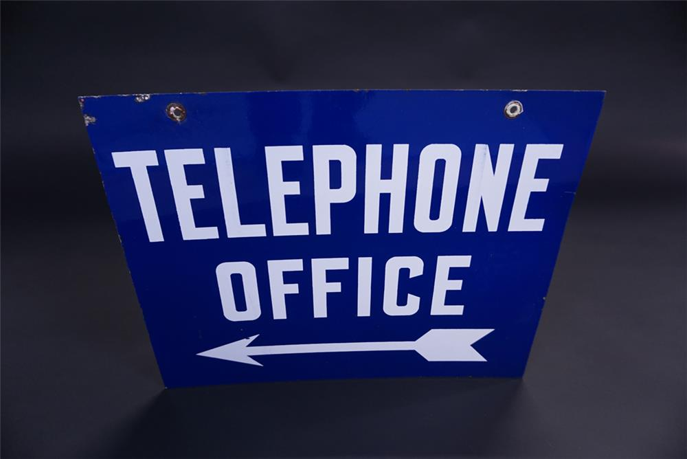 1940s Telephone Office double-sided porcelain sign with directional arrow graphic. - Front 3/4 - 191926