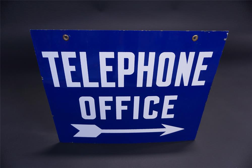 1940s Telephone Office double-sided porcelain sign with directional arrow graphic. - Rear 3/4 - 191926