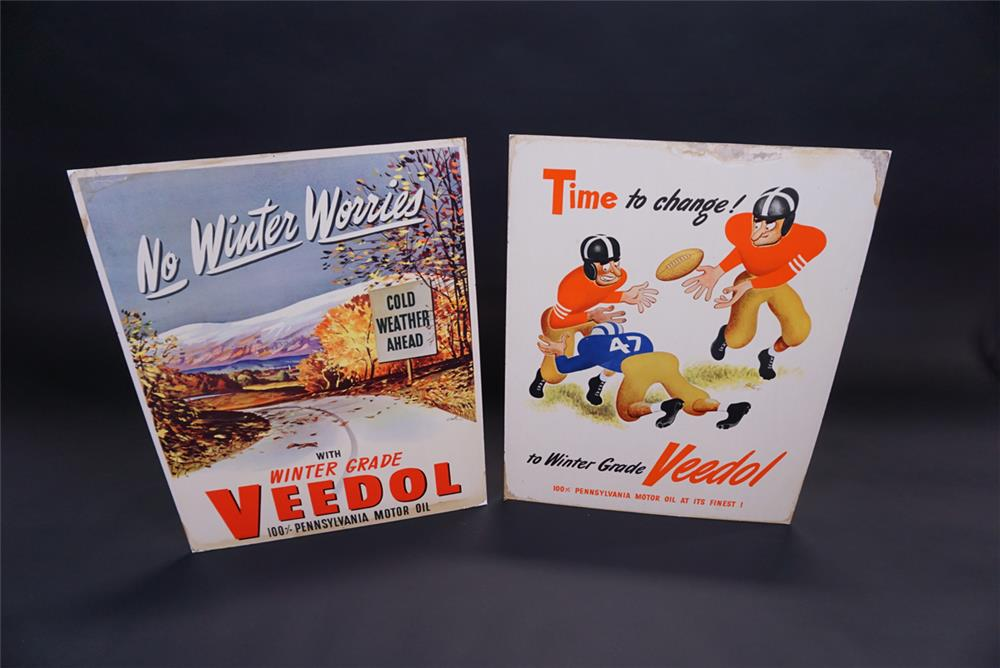 Lot of two circa 1950s Veedol Motor Oil service station display cardboard signs. - Front 3/4 - 191927