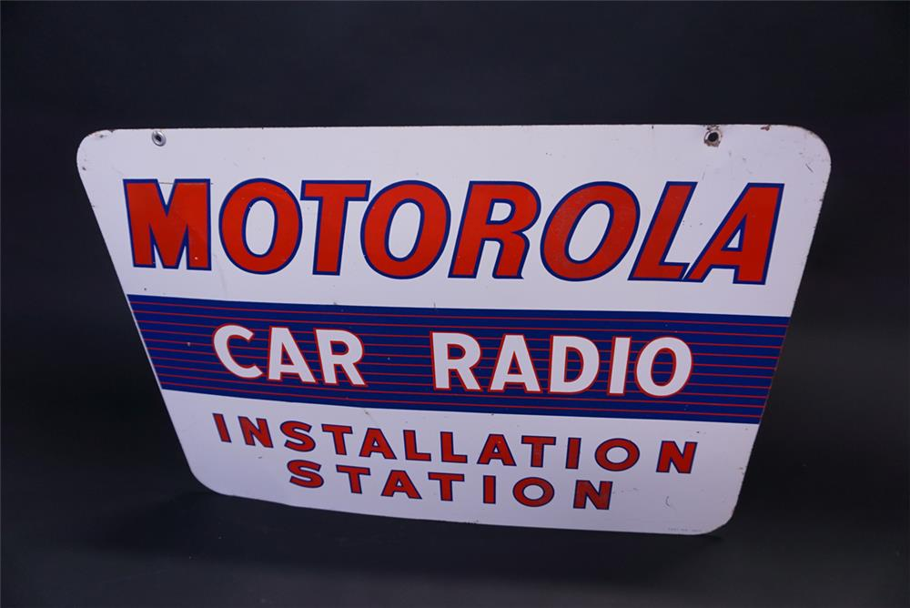 Circa 1950s Motorola Car Radio double-sided tin automotive garage sign. - Front 3/4 - 191929