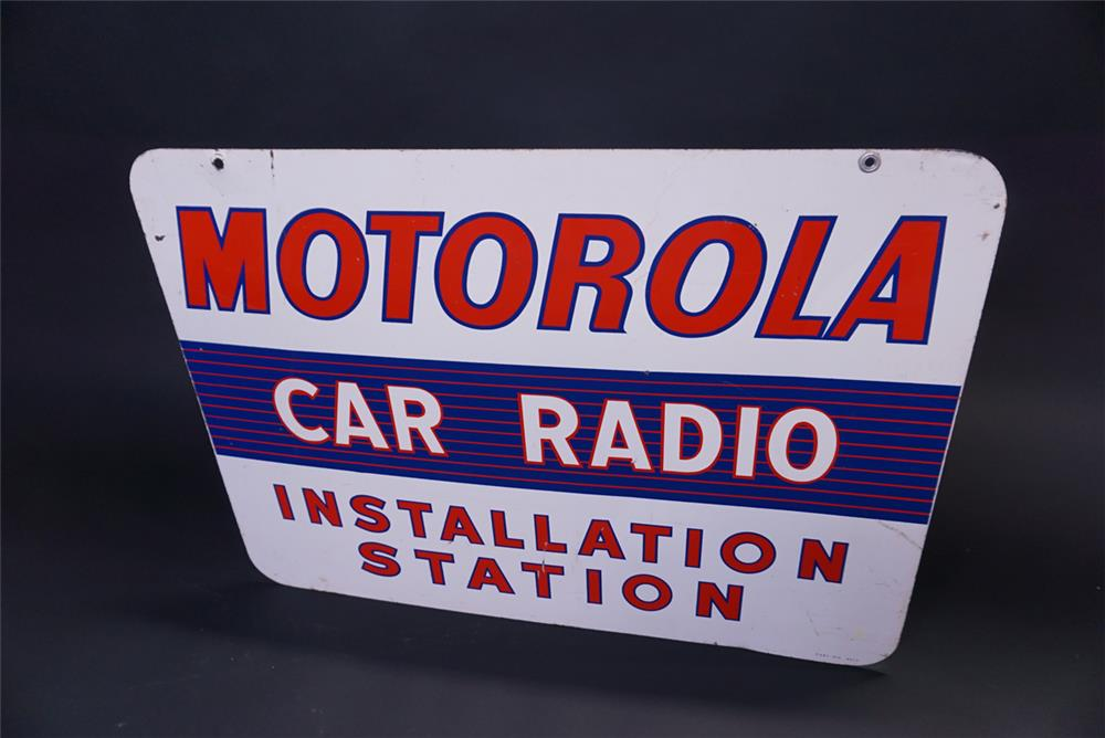 Circa 1950s Motorola Car Radio double-sided tin automotive garage sign. - Rear 3/4 - 191929