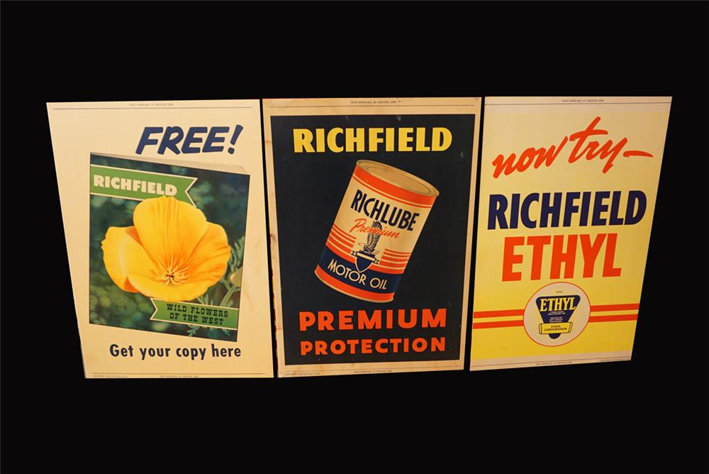 Lot of three Richfield Oil service station display cardboard signs. - Front 3/4 - 191930