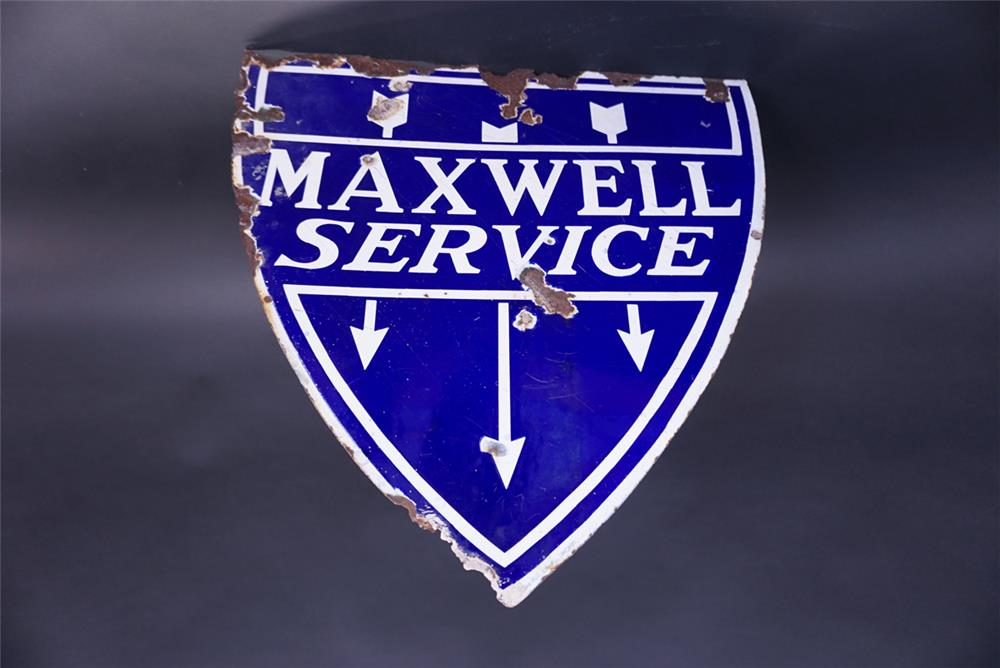 Elusive 1920s Maxwell Automobiles Service double-sided porcelain dealership sign. - Front 3/4 - 191932