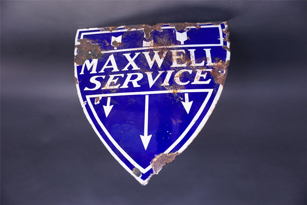 Elusive 1920s Maxwell Automobiles Service double-sided porcelain dealership sign. - Rear 3/4 - 191932