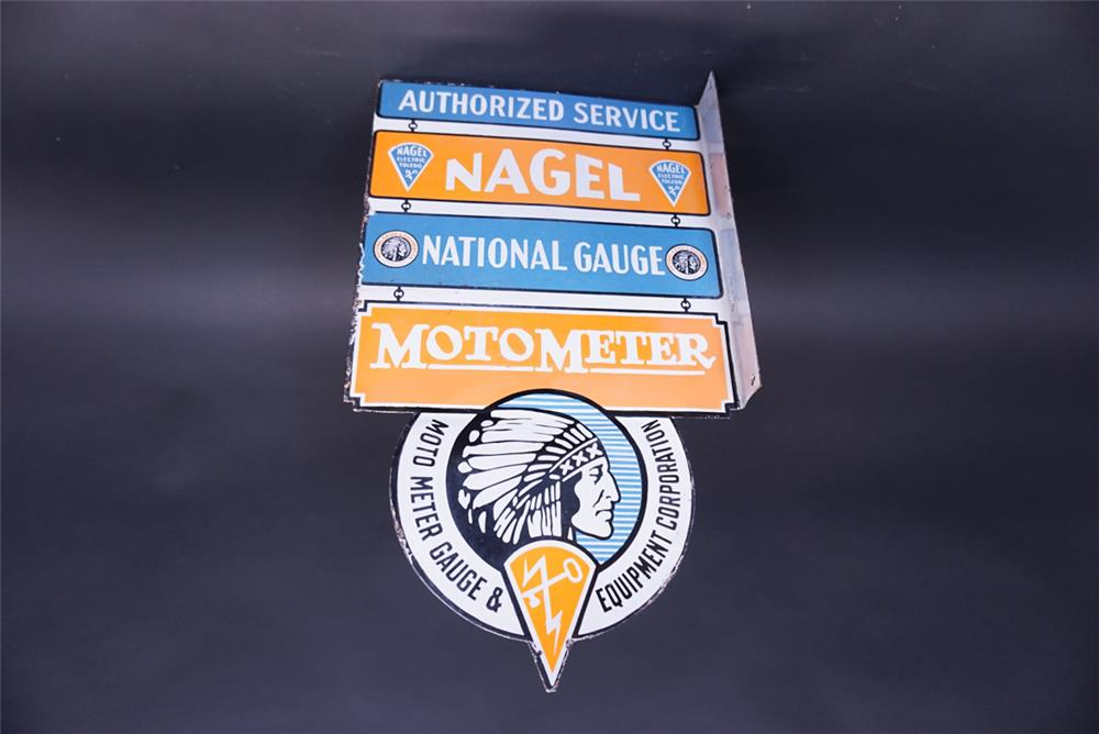 Phenomenal 1930s Nagel National Gauge Moto Meter double-sided porcelain automotive garage sign. - Front 3/4 - 191934