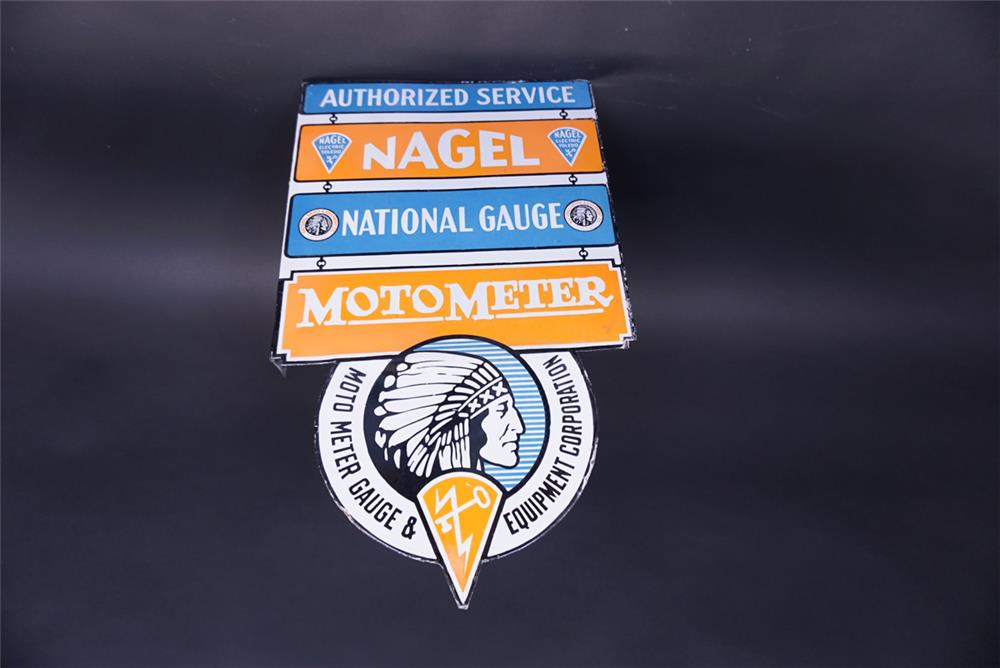 Phenomenal 1930s Nagel National Gauge Moto Meter double-sided porcelain automotive garage sign. - Rear 3/4 - 191934