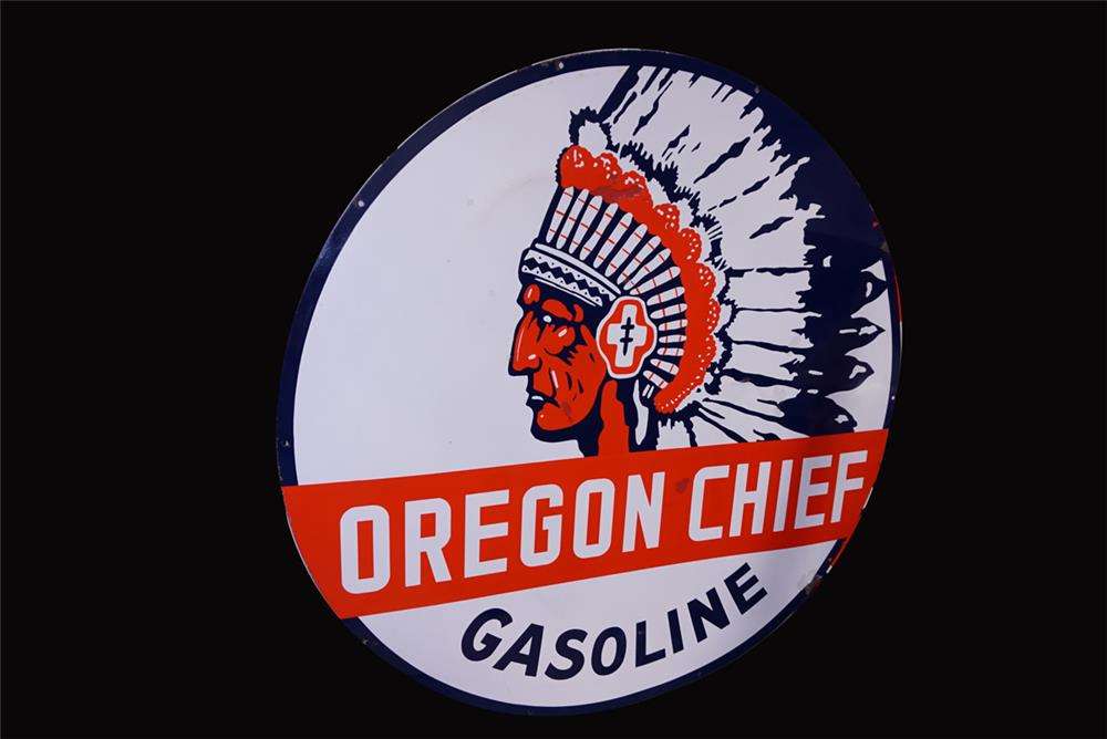 Extremely rare vintage Oregon Chief Gasoline double-sided porcelain service station sign - Front 3/4 - 191935