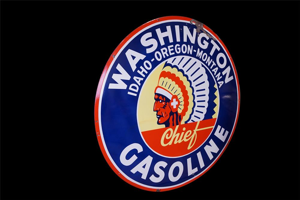 Rare 1940s Washington Gasoline double-sided porcelain service station sign - Front 3/4 - 191937