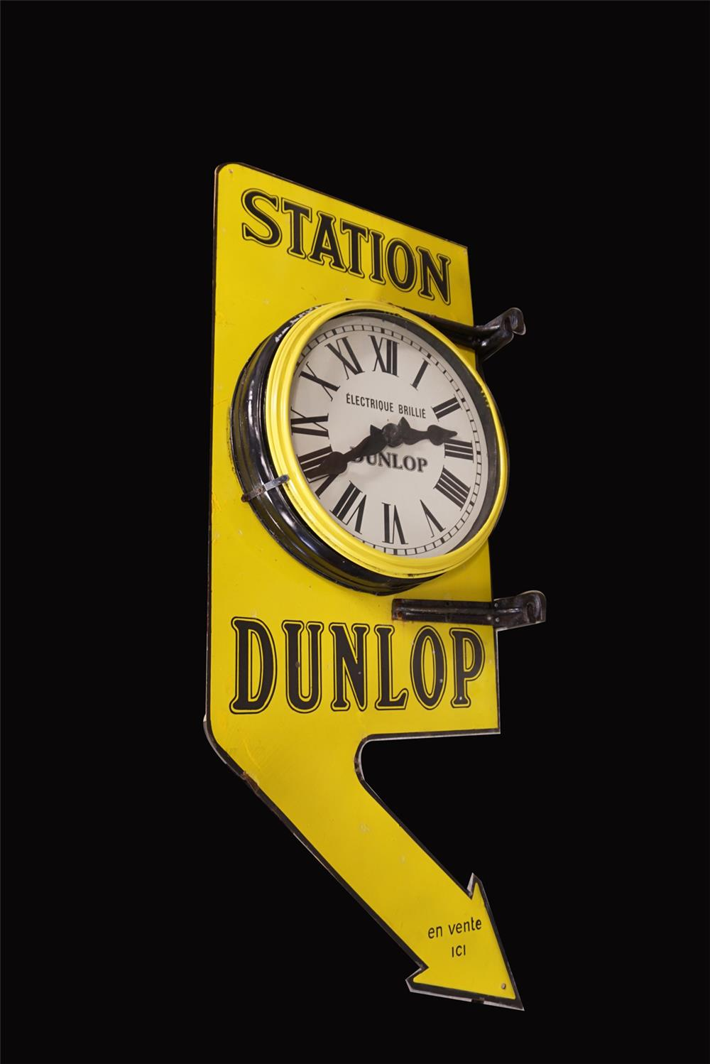 Exquisite 1930s Dunlop Tires Station double-sided porcelain automotive garage sign - Front 3/4 - 191940