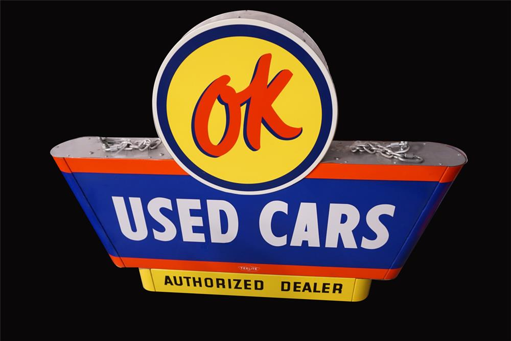 Choice 1950s Chevrolet OK Used Cars double-sided porcelain dealership sign with mounted lights. - Front 3/4 - 191941