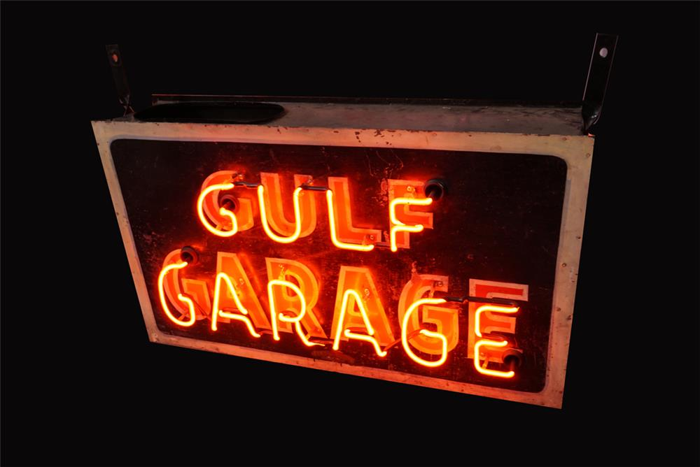 All original 1930s Gulf Garage tin-painted neon tin service station sign. - Front 3/4 - 191942