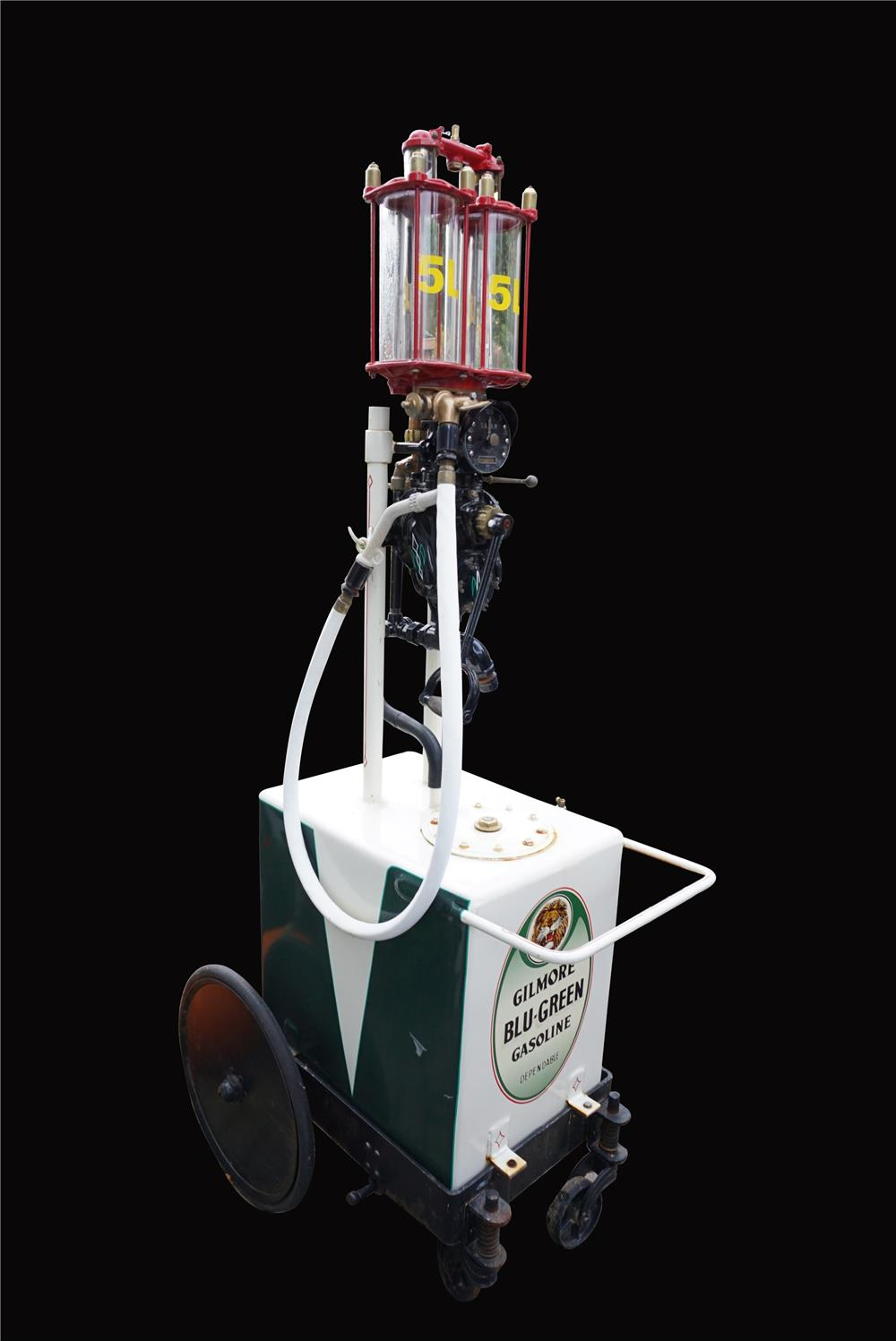 Rare 1920s Satam Dual Glass Cylindered service station gas pump cart restored in Gilmore regalia. - Front 3/4 - 191950