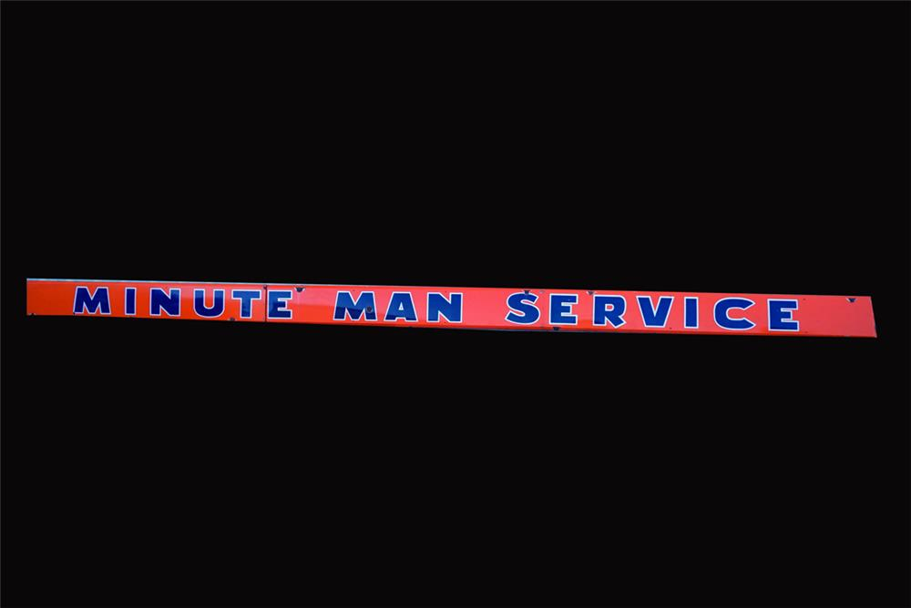 Large late 1950s Union 76Minute Man Service thee-piece horizontal porcelain service station sign. - Front 3/4 - 191952