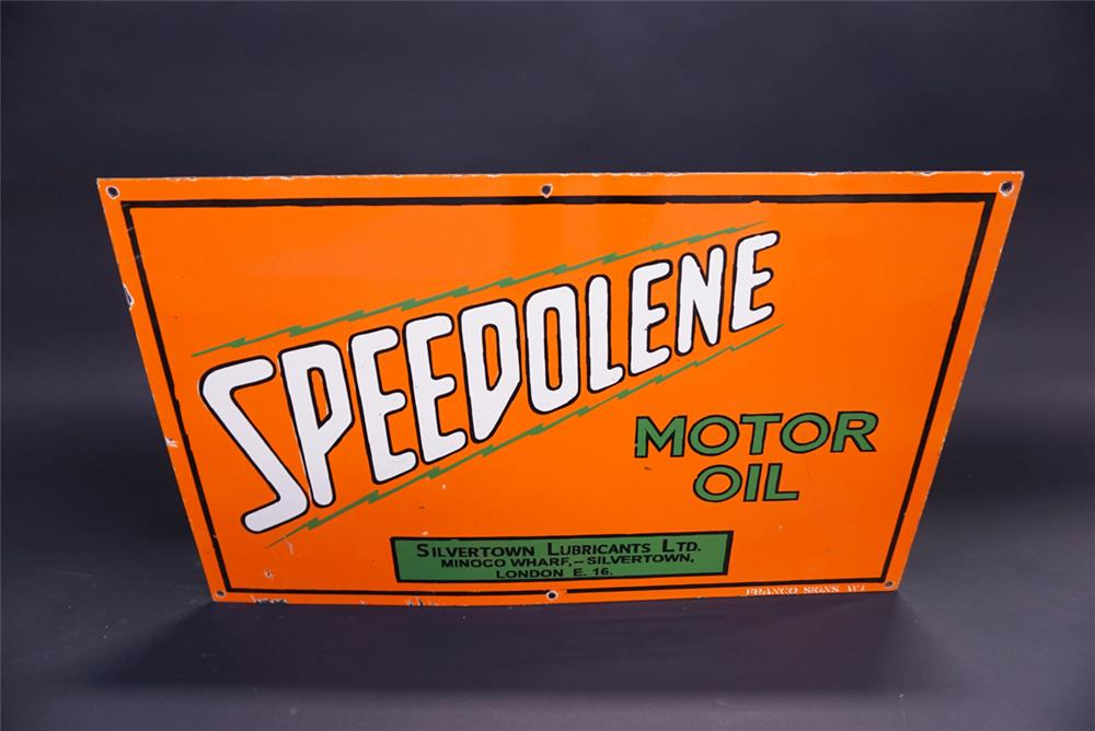 Sharp 1930s Speedolene Motor Oil Silvertown Lubricants single-sided porcelain filling station sign. - Front 3/4 - 191953