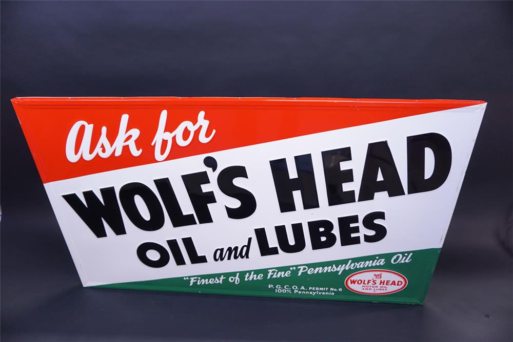 NOS 1950s Wolf's Head Motor single-sided wood framed tin sign. - Front 3/4 - 191955