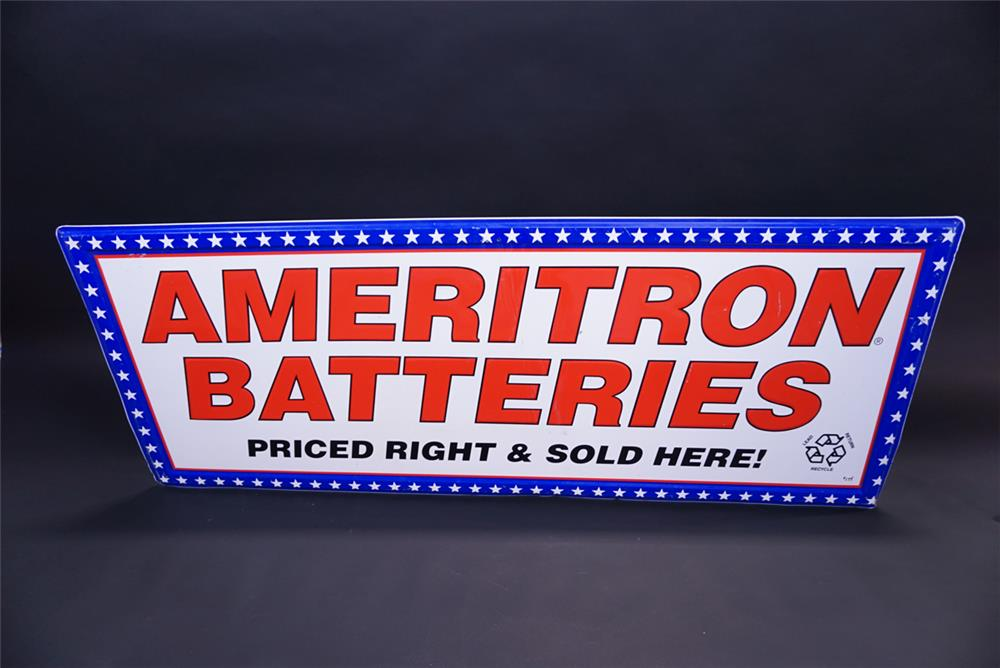 Uncommon Ameritron Batteries single-sided horizontal self-framed tin automotive garage sign. - Front 3/4 - 191956