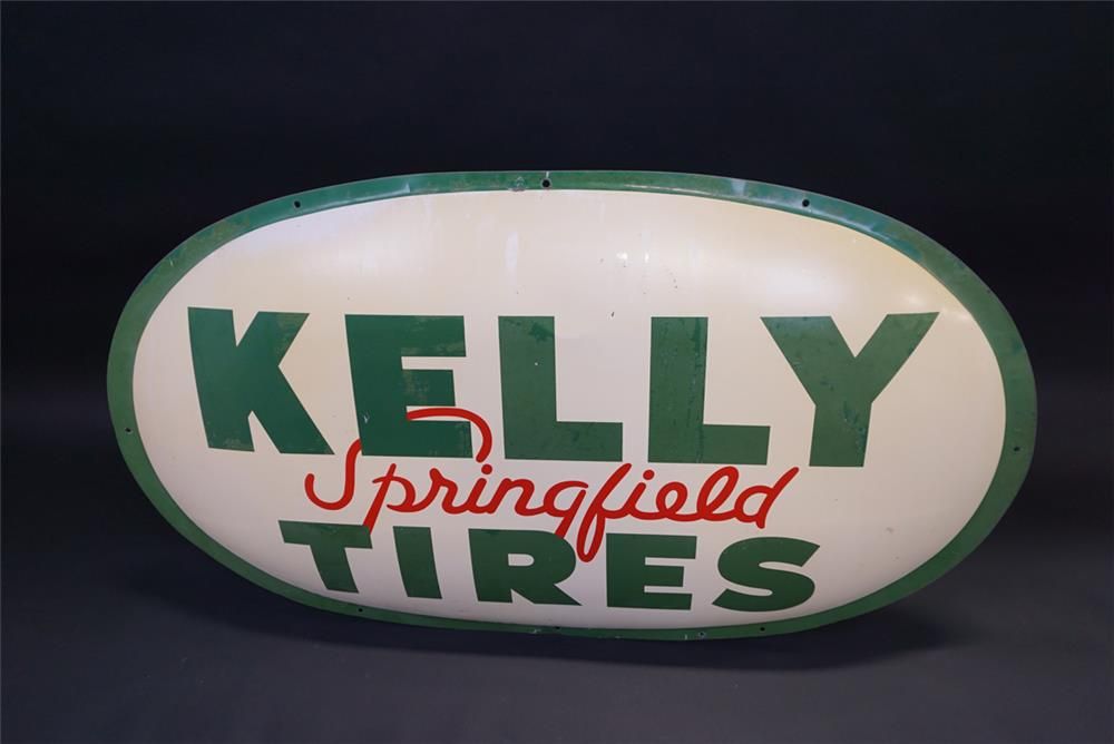 Large 1959 Kelly Springfield Tires single-sided concave tin automotive garage sign. - Front 3/4 - 191959