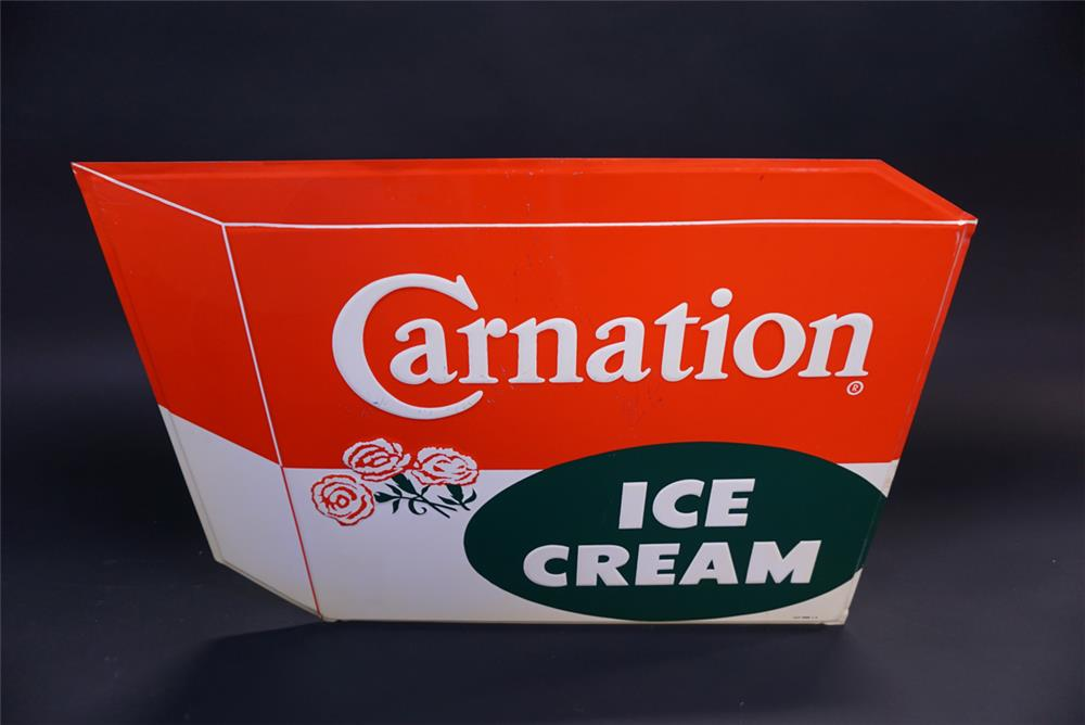 Wonderful NOS Carnation Ice Cream single-sided die-cut tin diner sign. - Front 3/4 - 191964