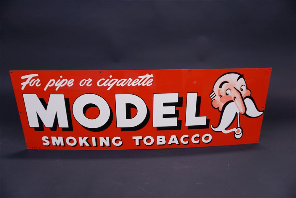 Wonderful NOS 1952 Model Tobacco single-sided tin sign with smoking gent logo. - Front 3/4 - 191967
