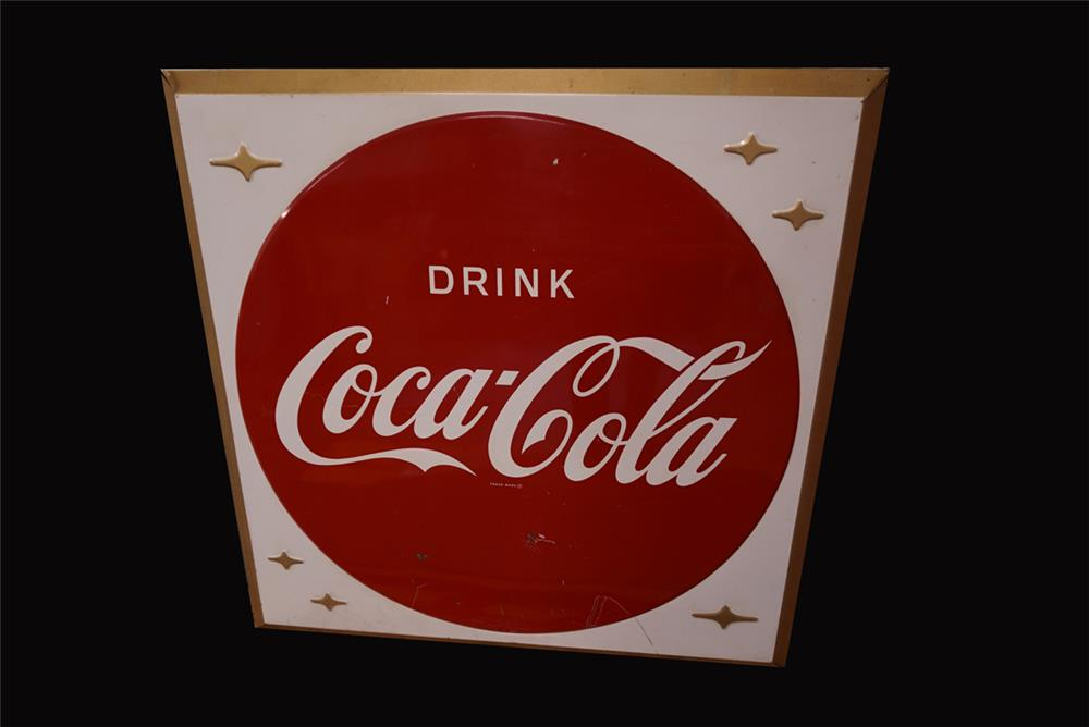 Large late 1950s Drink Coca-Cola single-sided embossed tin sign with Coke button logo. - Front 3/4 - 191979